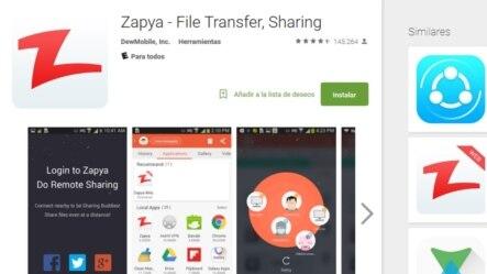 """Zapya, aplicación móvil que permite la transferencia de datos """"offline""""."""