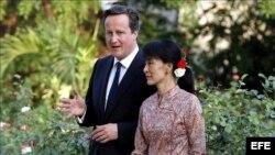 David Cameron y Aung San Suu Kyi