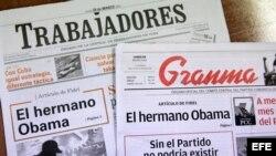 Portadas de la prensa cubana.