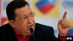 Hugo Chávez, habla el 9 de julio de 2012, durante su primera rueda de prensa como candidato a la reelección en las elecciones del 7 de octubre, en Caracas (Venezuela).