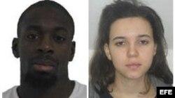 Combo fotografico facilitado por la Policía francesa del terrorista abatido Amedy Coulibaly y su cómplice Hayat Boumeddiene.
