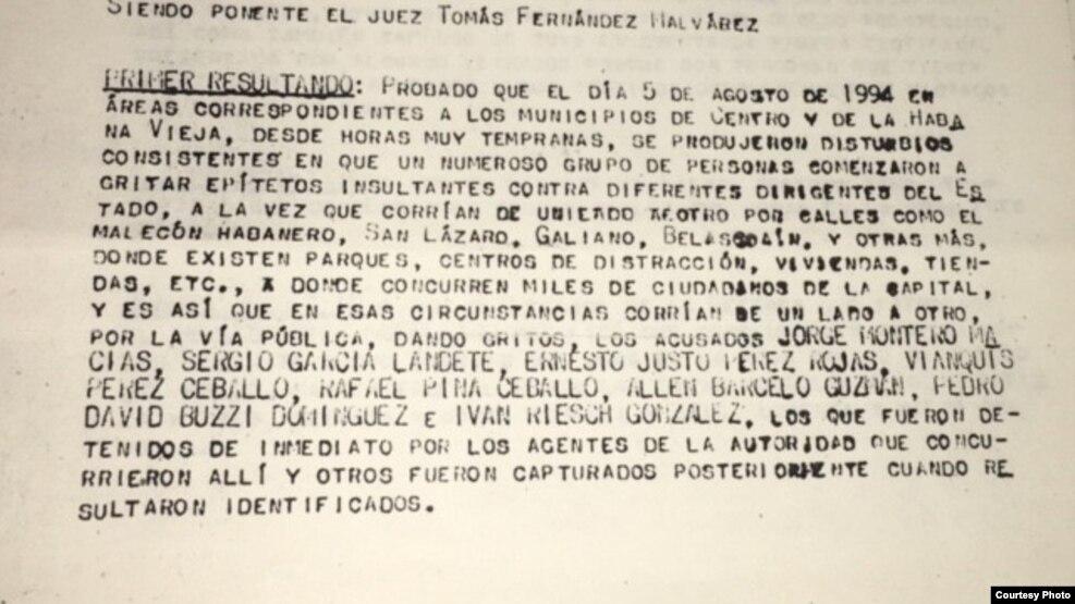 Copia de sentencia cortesía del activista de DDHH y periodista Efren Pulgaron para Martí Noticias.