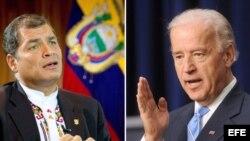 Rafael Correa (i) y Joe Biden (d).