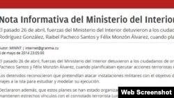 Nota informativa del MININT sobre la detención de cuatro cubano estadounidenses a quienes se acusa de planes terroristas