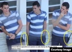 Ángel Moya publicó en Twitter la imagen del oficial que amenazó y arrestó a Yamilé Barges.