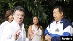 El presidente colombiano junto a Hugo Chávez en La Habana.