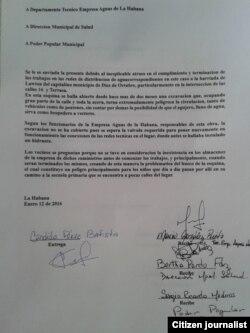 Reporta Cuba. Fotocopia de demanda presentada por ciudadanos. Foto: Steve Maikel Pardo.