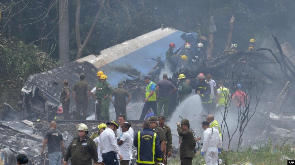 Zona del accidente de Cubana.