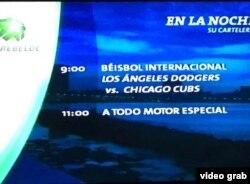 Cartelera de Tele Rebelde sobre el primer partido Dodgers-Cachorros de la SCLN, en el que brilló Yasiel Puig.