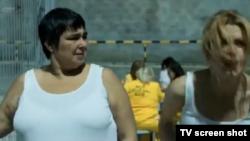 """María Isabel Díaz, una escena de """"Vis a Vis"""" (captura de pantalla)."""