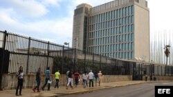 Vista de la Embajada de EEUU en La Habana.