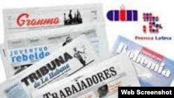 Portada de varios periódicos cubanos.