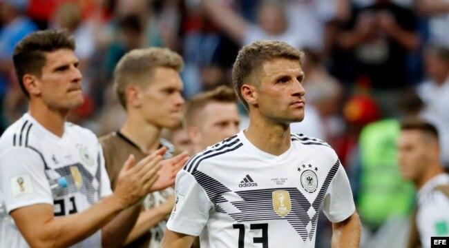 La expresión de decepción de Thomas Mueller, de Alemania, tras la derrota.