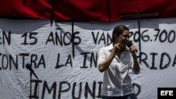 La diputada opositora María Corina Machado