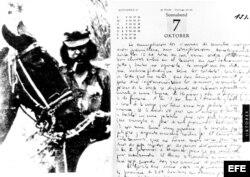 Página del diario de Ernesto Guevara
