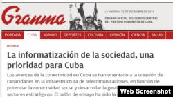 Titular del editorial de Granma sobre la informatización de Cuba.