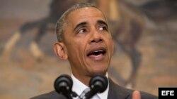 El presidente Obama ofrece una rueda de prensa sobre la reducción de tropas en Afganistán. EFE