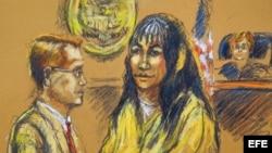 Boceto de la artista Shirley Henderson que ilustra la audiencia contra Sandra Ávila Beltrán (c), realizada hoy, viernes 14 de septiembre de 2012, en un tribunal de Miami (EEUU).