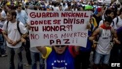 Protesta estudiantil contra el Gobierno de Nicolás Maduro.