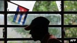 Una bandera cubana en la Asociación de Combatientes de El Cotorro, La Habana.