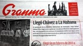 Granma informó en una escueta nota la llegada de Hugo Chávez a La Habana.