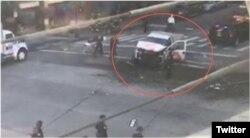 Foto tomada de Twitter del vehículo involucrado en el incidente.