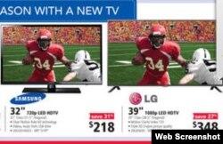 """Por este TV de de 32"""" que cuesta $218 más impuestos, la aduana de Cuba cobrará $250, y $400 por el de 39"""" que cuesta $348 (HHGregg)."""