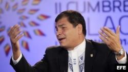 El presidente de Ecuador, Rafael Correa, habla hoy, martes 28 de enero de 2014, durante una entrevista con la cadena Telesur.