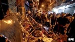 Daños causados por atentado del Estado Islámico cntra Hezbolá en Beirut, Libano.
