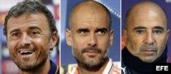 De izquierda a derecha, los españoles Luis Enrique (Barcelona) y Pep Guardiola (Bayern Múnich), y el argentino Jorge Sampaoli (selección de Chile).