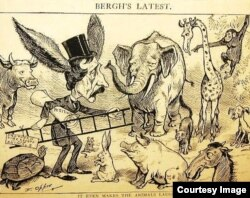 """Caricatura de Henry Bergh en la prensa norteamericana: """"Hasta los animales se ríen de él""""."""