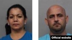 Mugshots de ingreso a la cárcel de los cubanos Elsa Sasturrias y Amaury Ordoñez, acusados de cultivo de marihuana