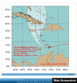 El huracán Matthew en un mapa pronóstico del Instituto de Meteorología de Cuba. Foto Tomada de INSMET.