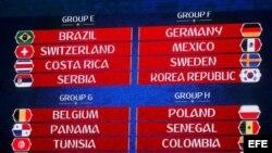 Composición de los grupos E, F, G y H tras el sorteo del Mundial de Rusia 2018 que se celebró en el Palacio del Kremlin de Moscú, Rusia.