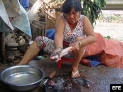 Tuyet, vendedora en Dong Thap (Vietnam), prepara los roedores para un cliente.