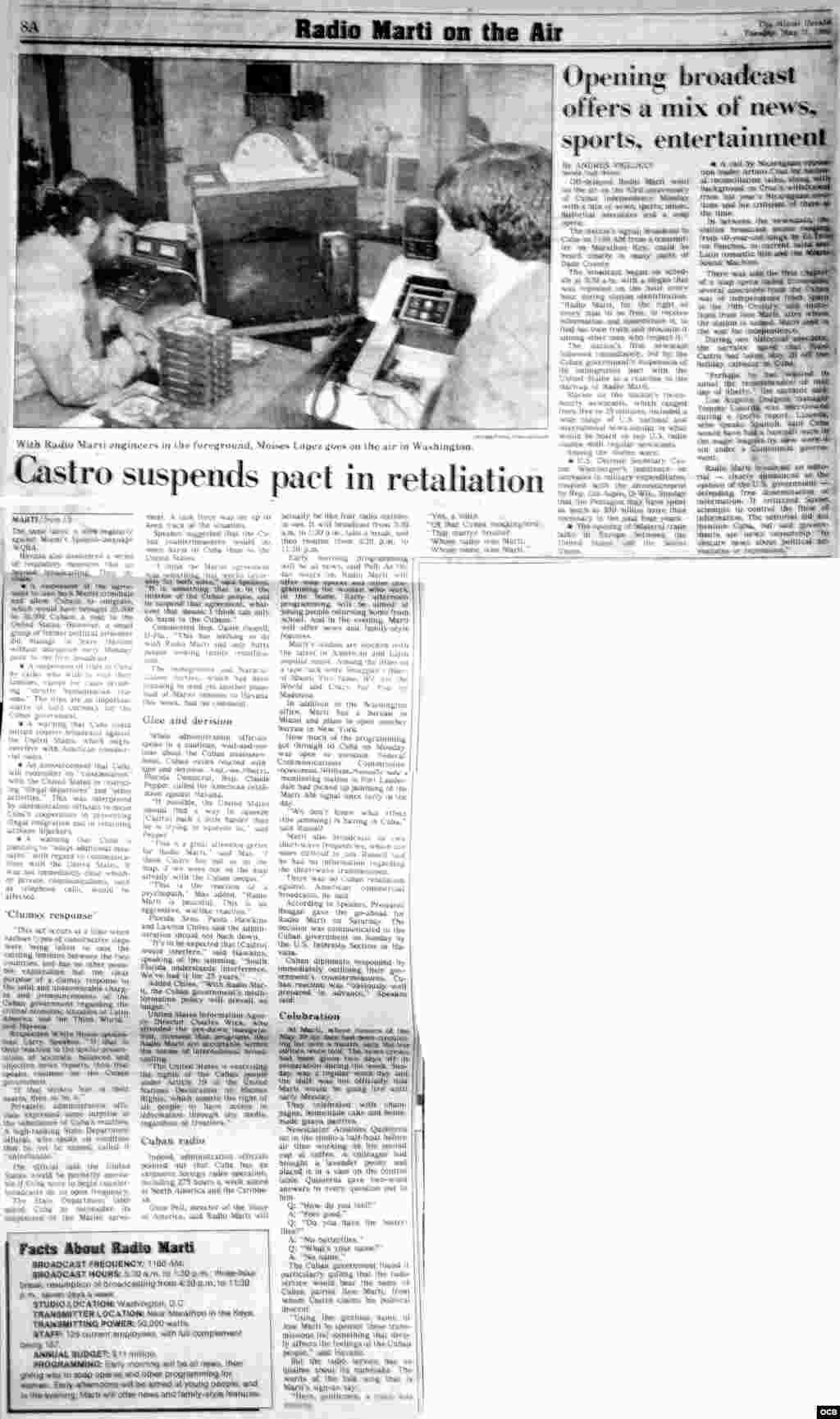 Radio Martí en el aire. The Miami Herald. Mayo 21, 1985.