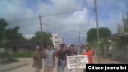 Archivo Activistas realizan protesta en Sagua La Grande