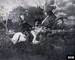 José Martí en Dos Ríos.