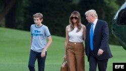 US President Donald J. Trump returns to the White House in Washington, DC