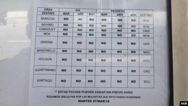 Un papel indica la suspensiónde vuelos nacionales desde Baracoa hasta Gerona.
