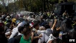 Una protesta el 12 de marzo del 2014, en la Universidad Central de Venezuela (UCV) en Caracas (Venezuela).