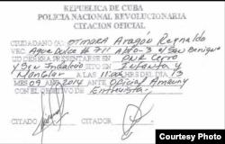 Citación policial a Otmara Aragón, esposa del pastor Alejandro Hernández