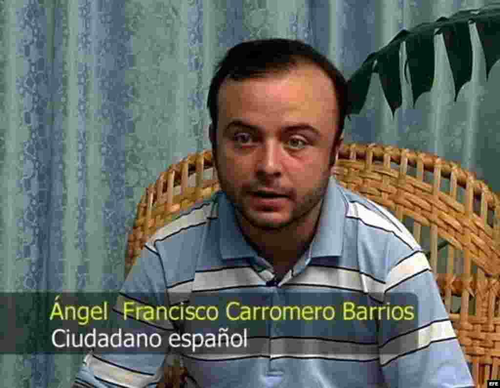 Imagen tomada de un video y suministrada por el Gobierno cubano en La Habana (Cuba) hoy, lunes 30 de julio de 2012, en la que aparece el español Ángel Carromero, quien conducía el vehículo donde viajaba el fallecido opositor Os