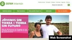 Captura de la página web Oxfam Intermón