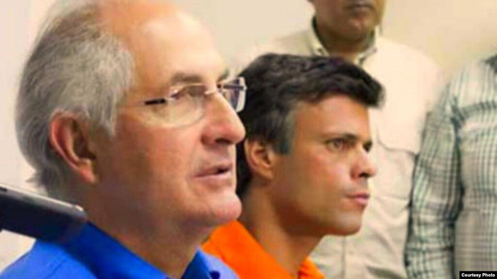 Los líderes opositores venezolanos Leopoldo López (d) y Antonio Ledezma.