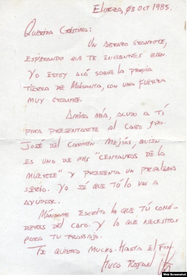 Carta inédita de Chávez a su vidente Cristina Marksman publicada por El Mundo