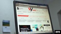 """Imagen de pantalla de la página del diario digital independiente """"14yMedio"""" creado por la bloguera cubana Yoani Sánchez."""
