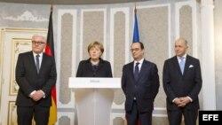 Merkel y Hollande agradecen a Putin que presionara a separatistas en Minsk.