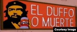 Cartel de Guevara con cerveza de serie Simpson