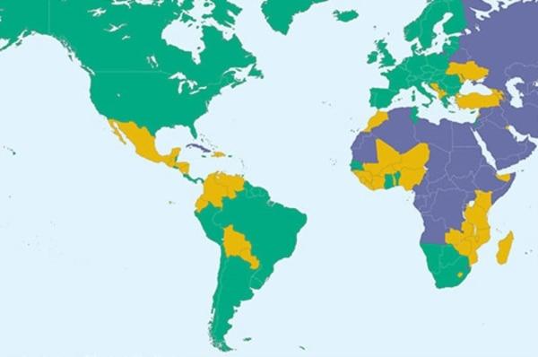 Mapa de la libertad 2016 de Freedom House . Cuba en el azul de los países no libres, el único en Las Américas.